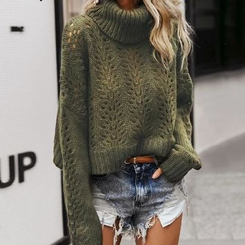 Polly Turtleneck Hollow Out Sweater