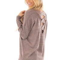 Rose Mocha and Silver Shimmer Criss Cross Back Tunic
