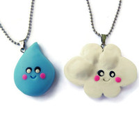 Best Friends Necklace, Cloud and Raindrop Necklace set, Fun Jewelry, BFF Necklace set, Best Friends Pendant, Kawaii Necklace