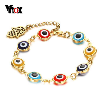 VNOX Evil Eye Bracelet Vintage Gold Plated Hamsa Hand Bracelets for Women Adjustable