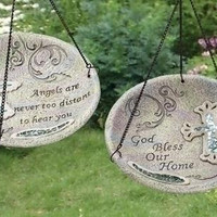"2 Hanging Bird Baths - 14.25 "" H X 10 ""  Dia. Including Chain"