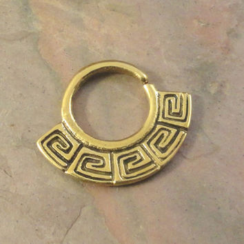 14 Gauge Brass Tribal Septum Ring Bull Ring Nose Piercing