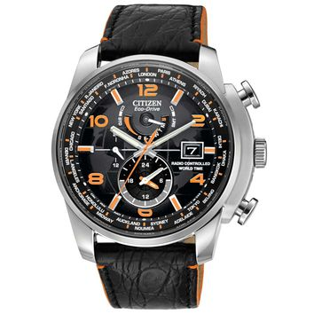 Citizen AT9010-28F Men's World Time A-T Eco-Drive Radio Controlled Black Dial Dive Watch