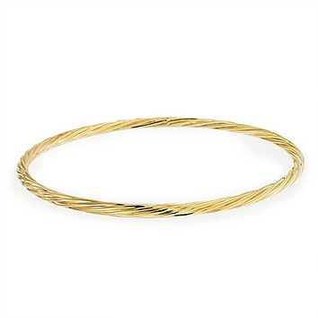 Twist Rope Cable Stackable Bangle Bracelet 18K Gold Plating 8 Inch