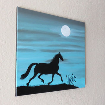 Horse, horse picture, Animal lovers,Horse,painting,moonlight, landscape, nature artwork,Black art,animal art, kids home decors, blue art