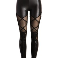 Punk Rave Women's Black Faux Leather Look Leggings with Lace Details