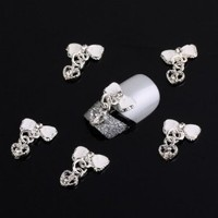 Leegoal 10 Pcs White Bow Tie Heart Silver 3D Alloy Nail Art Slices Glitters DIY Decorations