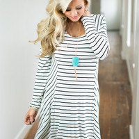 Dancing in the Dark Striped Long Sleeve Dress Black/White