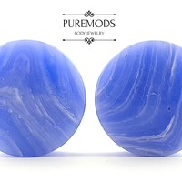 "Blue Lace Agate Plugs 4g (5mm) - 2"" (51mm)"