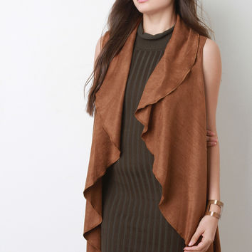 Vegan Suede Draped Open Front Vest