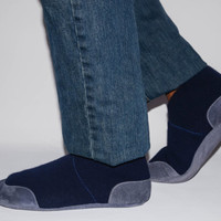 Men Cashmere Slippers with Suede Leather Soles, Eco-friendly Men Wool Shoes, Men Cashmere Socks. Size:USA Adults 6.5 -16.  Blue Train