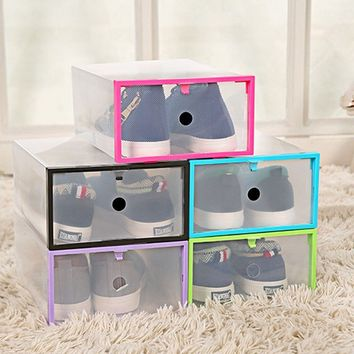 Dust-protecting Clear Transparent Drawer Case Plastic Shoe Boxes Storage Organizer Stackable Box