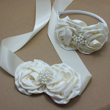 Ivory satin rose Flower Sash and headband with pearl wedding Bridal rosette Belt Dress gown sash girl dress hair accessories