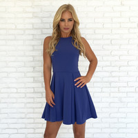 Avalon Babydoll & Lace Dress in Blue
