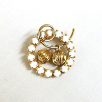 Milk Glass Circle Wire Over Wreath Brooch Vintage with Dangle Ball Beads