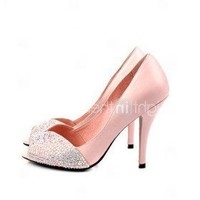 Real Leather Upper High Heel Peep-toes With Rhinestone Fashion Shoes