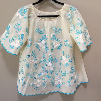 Embroidered Boho Blouse, Sheer Peasant Top Turquoise Blue White Floral Embroidery Scalloped Edge Trim California Vintage Bohemian Hippie Top