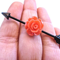 Rose Arrow Industrial Barbell Piercing Scaffold Earring: Available in Black, Red, Coral, Purple, Pink, White, Mint, Turquoise