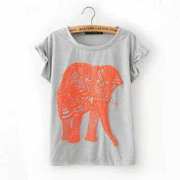 Elephant print summer top for women T6