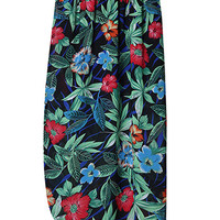 Multicolor Floral Print Asymmetric Slit Midi Skirt