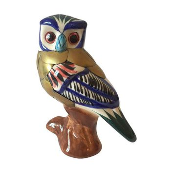 Pre-owned Vintage Owl Ceramic And Brass Figurine