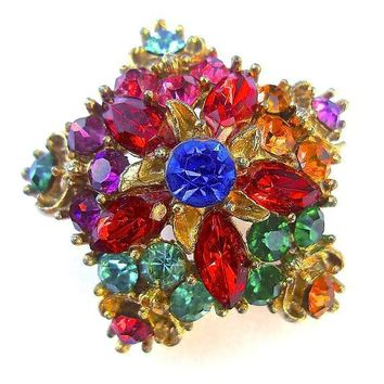 Multi Color Rhinestone Star Brooch-Pin, Fruit Salad, Domed, Vintage