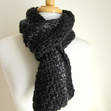Mens Gray Knit Scarf - Handmade - Crochet