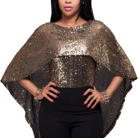 Black Gold Sequins Cape Top