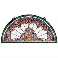 Lady Astor Demi Lune Half Circle Victorian Handcut Stained Glass 32.5W