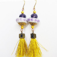 Gypsy Fringe Earrings / Boho Gold Purple tassel Earring dangle / Textile and ceramic Jewelry
