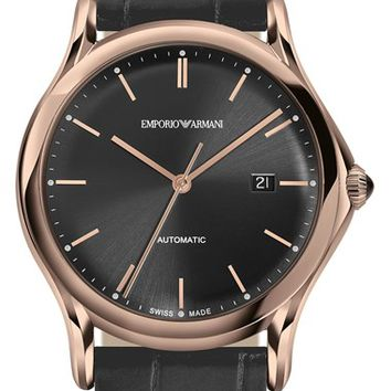 Men's Emporio Armani Swiss Made Automatic Alligator Leather Strap Watch, 42mm