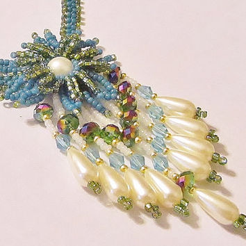 Pearl Statement Necklace, Beaded Necklace, Crystal Necklace, Native American