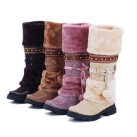 Women Lace Up FUR LINED Winter Warm Flat Knee High Snow Boots Lady Ski Snow Shoe = 1932148612