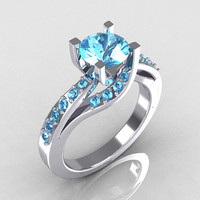 Modern Bridal 18K White Gold 1.0 Carat Aquamarine Solitaire Ring R145-18WGAQ