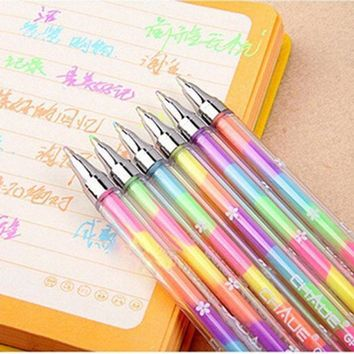 ICIK272 New Korean Stationery 1PC Cute Design Ink 6Colors Highlighter Pen Marker Stationery Point Pen Colorful Writing Supplies