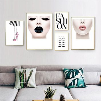Fashion Girl Posters Wall Art Canvas Painting Nordic Makeup Poster Picture Pink Lady Quote Wall Pictures For Bedroom HD2405