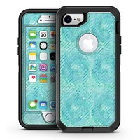 Green Watercolor Swirls and Diagonal Stripes Pattern - iPhone 7 or 7 Plus OtterBox Defender Case Skin Decal Kit