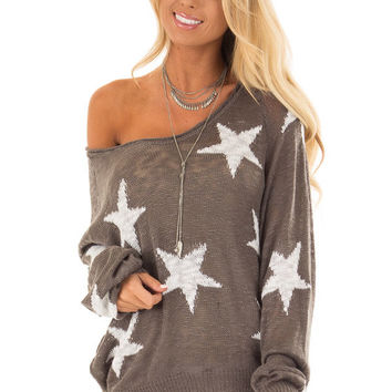 Charcoal Comfy V Neck Sweater with Star Print