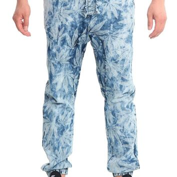 Men's Magic Leaf Denim Jogger Pants JG865 - E14F