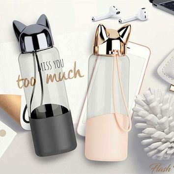 Cat Ear Insulated Water Bottle With Rope Handle - 350ml
