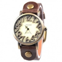 Unique Marks Frame Analog Digital Watch With PU Leather Brown