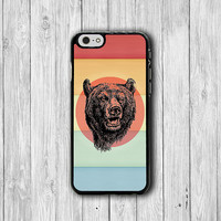 Bear Head Rainbow Funny iPhone Cases, iPhone 6 Cover, iPhone 6 Plus, iPhone 5/5S Hard Case, Soft Silicone Plastic Case Accessory Boss Gift