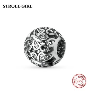 Fit Original pandora Charm Bracelet silver 925 Butterfly Antique Beads With Clear CZ Stone Fashion Jewelry Making for women Gift