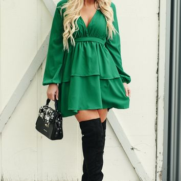 Come To Me Tiered Dress (Green)