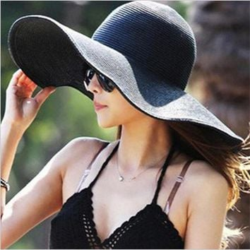 WENDYWU 14Color Women's Foldable Wide Large Brim Floppy Summer Sun Beach Hat Straw Hat Cap For Ladies