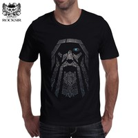 Rocksir Men Punk Tops Gorgeous Odin Vikings Printed T-shirts Cotton Short Sleeve Tee Shirts Hipster Homme Casual Brand Clothing