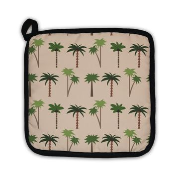 Potholder, Tropical Pattern With Palms 1