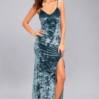 Supernatural Love Slate Blue Crushed Velvet Maxi Dress