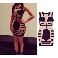 2014 Women Celebrity Midi Bodycon Dress, Sleeveless Sexy Party Bandage Dress, See Through Club Print Dress 5692 = 1696746308