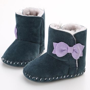 Baby Booties Baby Boots First Walkers Female Baby Soft Bottom Non-slip Shoes Plus Velvet Winter Boots Shoes 0-1 Years WMC903LL